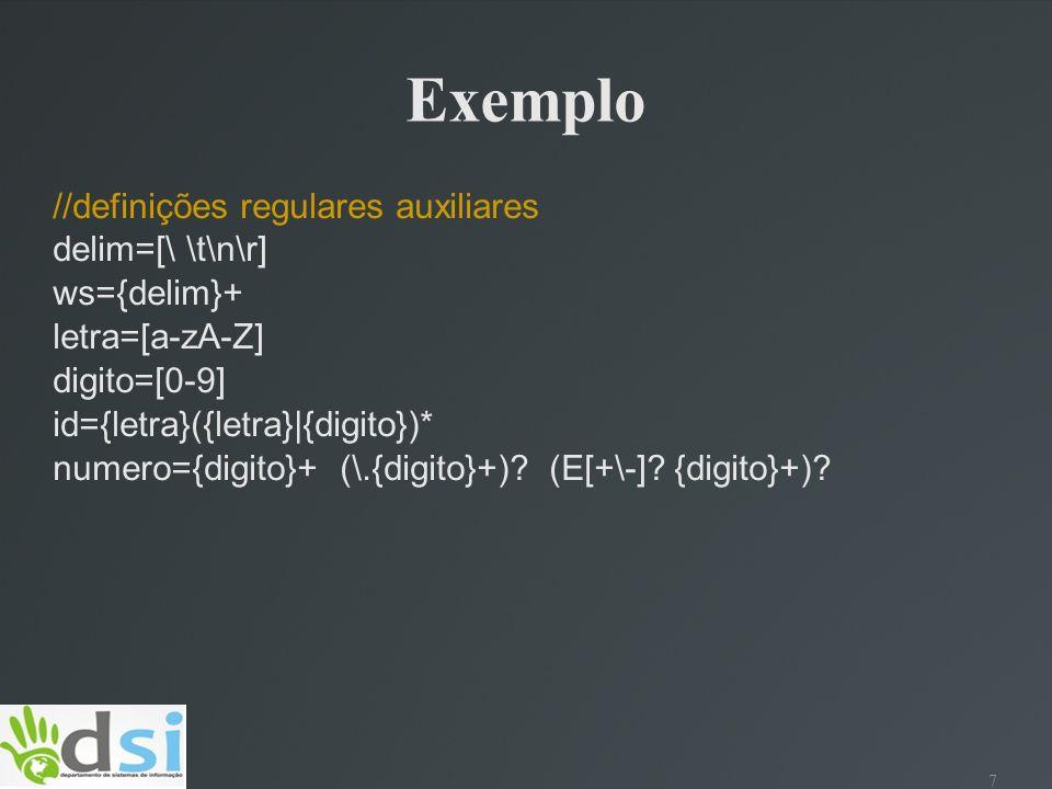 Exemplo //definições regulares auxiliares delim=[\ \t\n\r] ws={delim}+